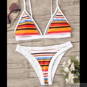 Other - Striped Triangle Top Bikini
